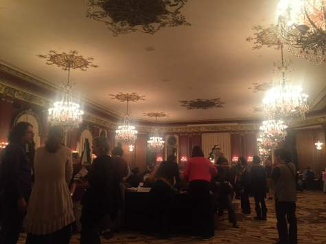 mass autographing in the Red Lacquer Room at Palmer House Hilton Chicago