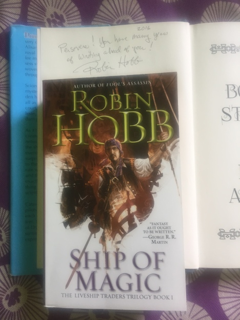 Given her book by an anonymous reader, I sought out Guest of Honor Robin Hobb.