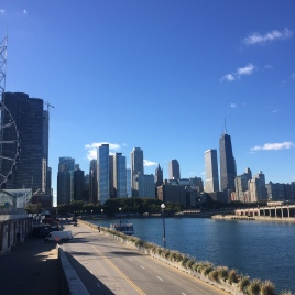 A view of Chicago from Navy Pier's loading dock.