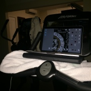 securely balancing my laptop on an exercycle