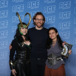 cosplayer Rose Anderson, actor Tom Hiddleston, author Eva L. Elasigue
