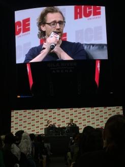 actor Tom Hiddleston, host Angelique Roche