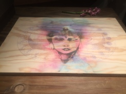 'Mother of the Ocean' layered wood printing by Phoenix, featuring Hannah Mermaid, elder sister of headlining DJ Naughty Princess