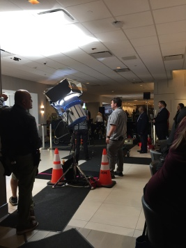 filming crew inside the hotel