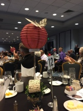 The table centerpieces at the WFC awards banquet, with quill feather dripping blood.